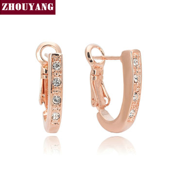 Top Quality ZYE277 Classical U Pattern Rose Gold Color Stud Earrings Jewelry Austrian Crystal Wholesale
